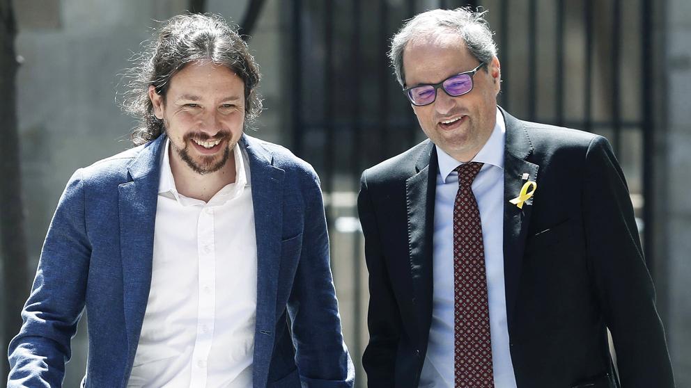 Pablo Iglesias y Quim Torra en una imagen de archivo. (Foto: EFE)