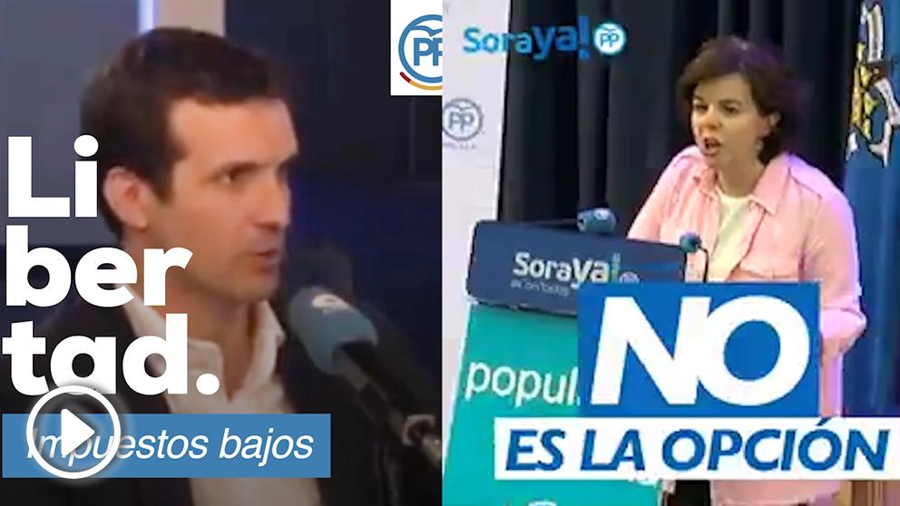 Vídeo de Pablo Casado y el lanzado tres días después por Soraya Sáenz de Santamaría