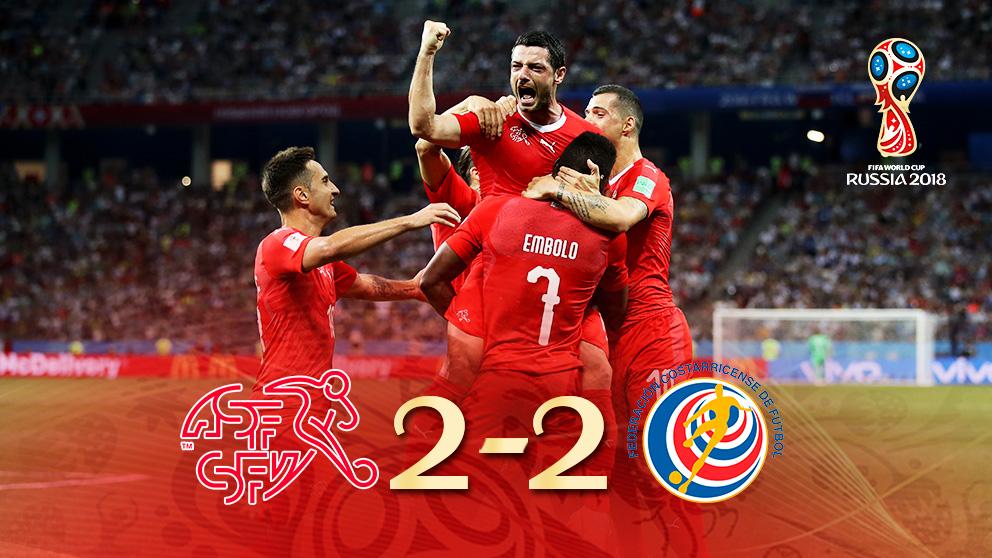 Suiza y Costa Rica empataron en la tercera jornada de la fase de grupos del Mundial 2018.