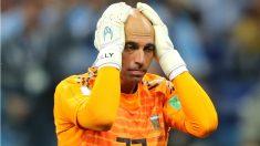 Caballero, tras cometer un grave error en el partido ante Croacia. (Getty)