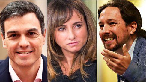 Pedro Sánchez, Ana Pardo de Vera y Pablo Iglesias