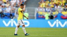James Rodríguez se lamenta tras ser sustituido en el tercer partido del Mundial. (Getty)