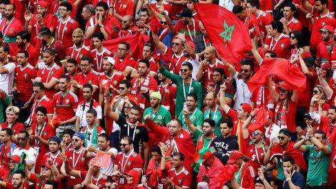 Aficionados de Marruecos durante el Mundial de Rusia. (Getty)