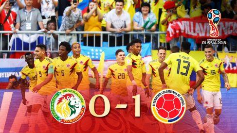Colombia se clasifica para octavos de final tras vencer a Senegal.