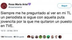 Tuit feminista publicado por la candidata de Podemos Rosa María Artal en febrero de 2014.