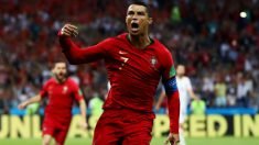 Cristiano Ronaldo celebra un gol con Portugal. (Getty)