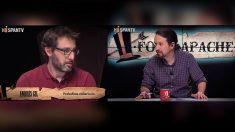 El periodista Andrés Gil y Pablo Iglesias en el programa 'Fort Apache'.