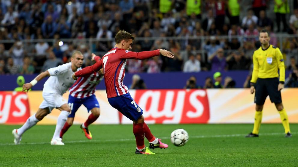 El penalti de Griezmann en la final de la Champions contra el Madrid. (Getty)