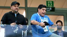 Maradona durante el partido del Mundial de Rusia entre Argentina y Croacia. (Getty)