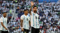 Messi, en un partido de Argentina en el Mundial. (Getty)