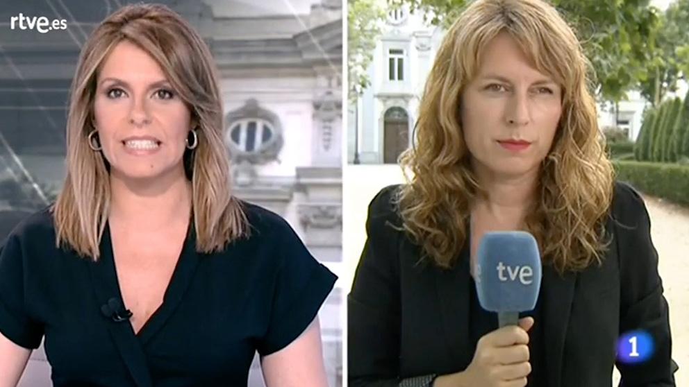 La presentadora de TVE, Pilar García Muñiz, junto a la reportera Cristina Blach