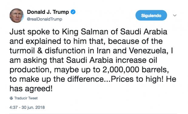 Trump anuncia en Twitter que Arabia Saudí ha accedido a aumentar su producción de petróleo