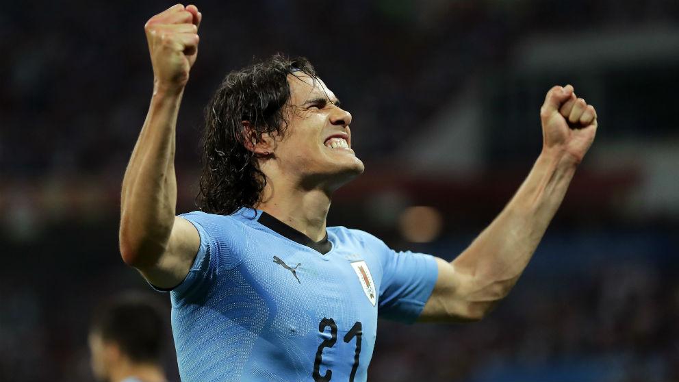 Cavani celebra el 2-1 ante Portugal en los octavos del Mundial. (Getty)