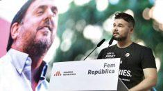 El diputado de ERC Gabriel Rufián durante el acto de ERC en el que se ha leído una carta de Oriol Junqueras. Foto: EFE