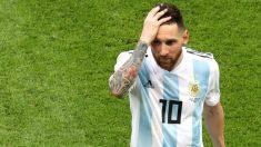 Messi, después de la eliminación de Argentina en el Mundial 2018. (Getty)