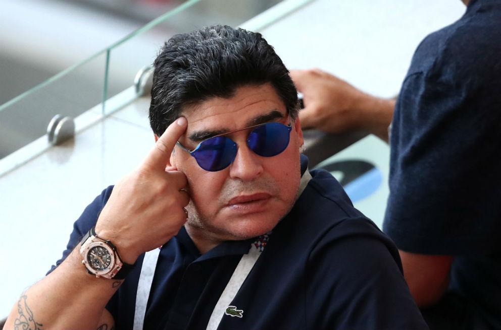Maradona, durante un partido del pasado Mundial. (Getty)