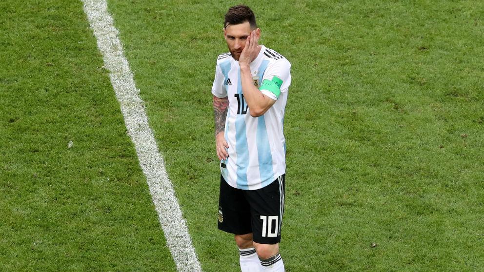 Messi contrariado durante el Francia – Argentina. (Getty)