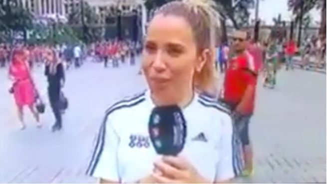 Un aficionado acosa a María Gómez, reportera de Telecinco, en Rusia — Vídeo