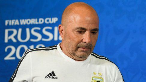Sampaoli, en la rueda de prensa posterior al Francia – Argentina. (AFP)