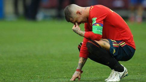 Sergio Ramos, muy afectado tras la derrota de España. (Getty)