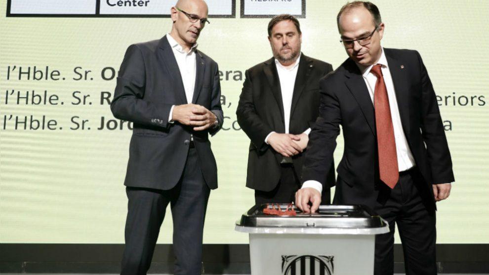 Los ex conseller Raül Romeva, Oriol Junqueras y Jordi Turull (Foto: Efe).