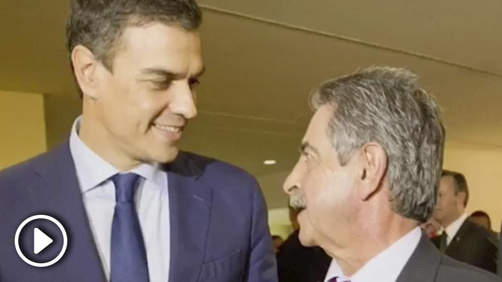 El presidente Pedro Sánchez, junto al presidente de Cantabria, Miguel Ángel Revilla.