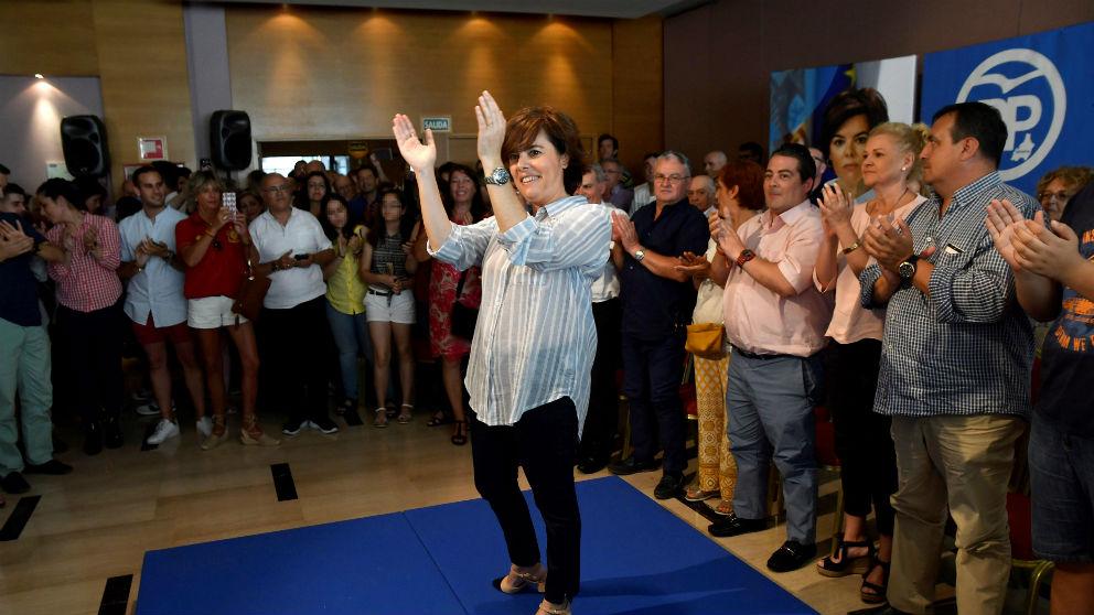 Soraya Sáenz de Santamaría este domingo en Almería