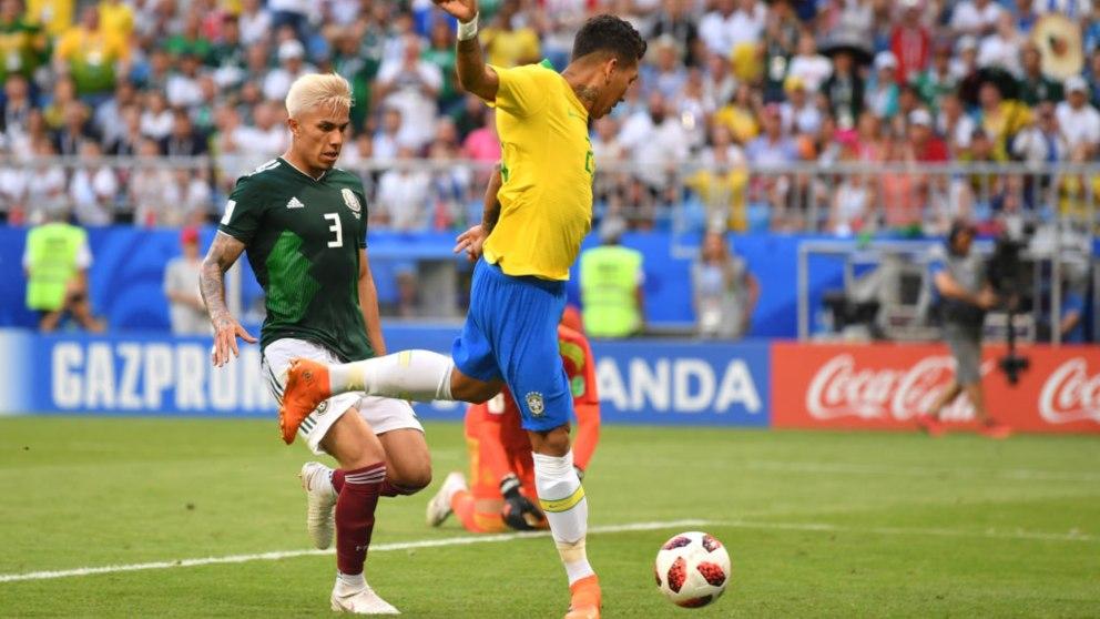 Gol de Firmino (Getty).   Brasil – México   Partido de hoy en directo