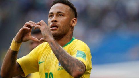 Neymar celebra el gol frente a la selección de México (Getty).   Brasil – México   Partido de hoy en directo