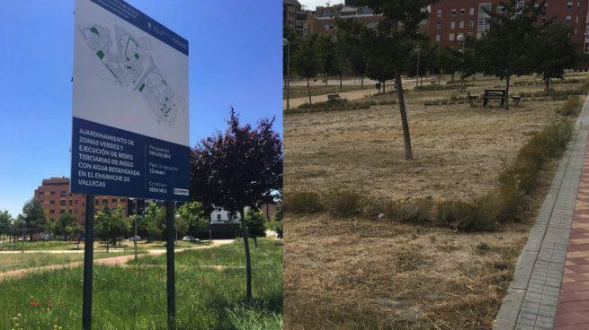 Carmena gasta 1 millón de euros en una zona verde que se ha secado en tres meses