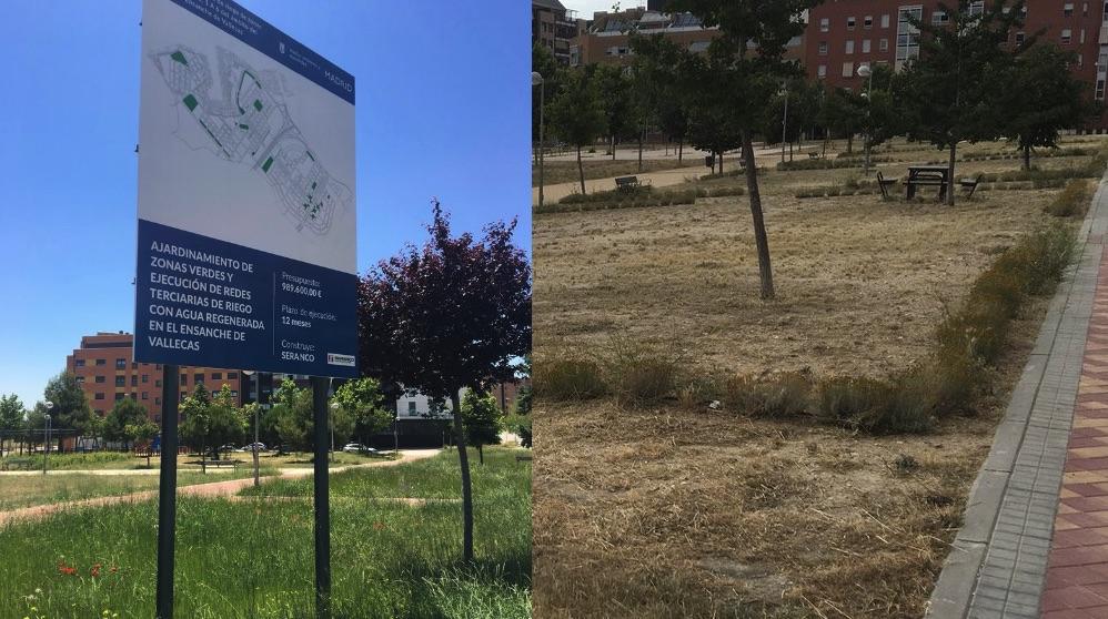 Cartel del ajardinamiento y zonas verdes ahora secas en Vallecas.