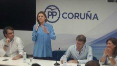 María Dolores de Cospedal durante un acto en Galicia dentro de su campaña por la presidencia del PP. Foto: Europa Press