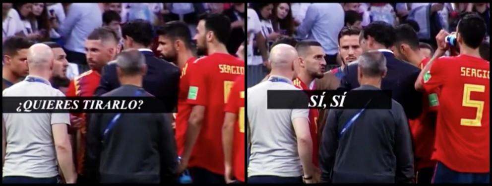 Diego Costa trató de evitar que Koke lanzase en la tanda de penaltis
