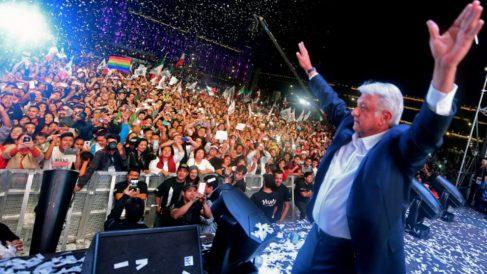 Andrés Manuel López Obrador tras declararse vencedor en las elecciones presidenciales de México 2018. Foto: AFP