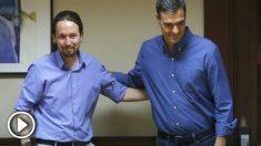 Pedro Sánchez y Pablo Iglesias, al inicio de una de sus reuniones.