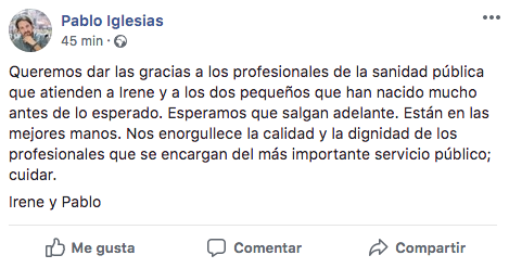 Mensaje publicado por Pablo Iglesias tras el nacimiento de sus hijos mellizos.