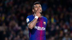 Paulinho celebra un gol con el Barcelona. (Getty)
