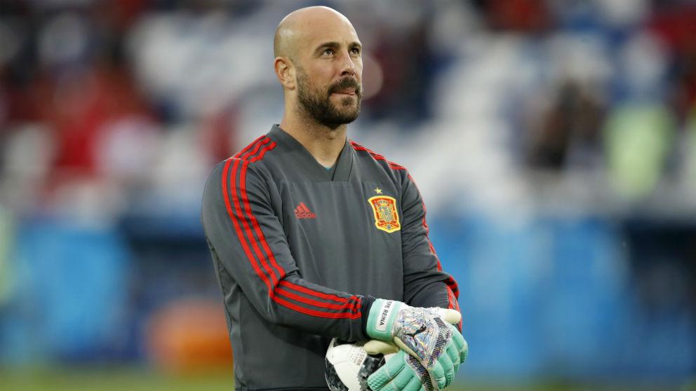 Pepe Reina, en un partido de la selección español. (Getty)