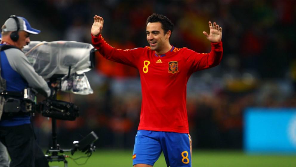 Xavi Hernández, en un partido de la selección española. (Getty)