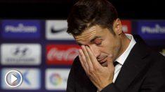 Gabi Fernández, emocionado en su despedida del Atlético. (EFE)