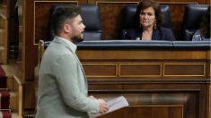 Gabriel Rufián esta tarde en el Congreso de los Diputados (EFE).