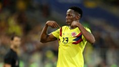 Yerry Mina, tras marcar el gol de Colombia a Inglaterra. (Getty)