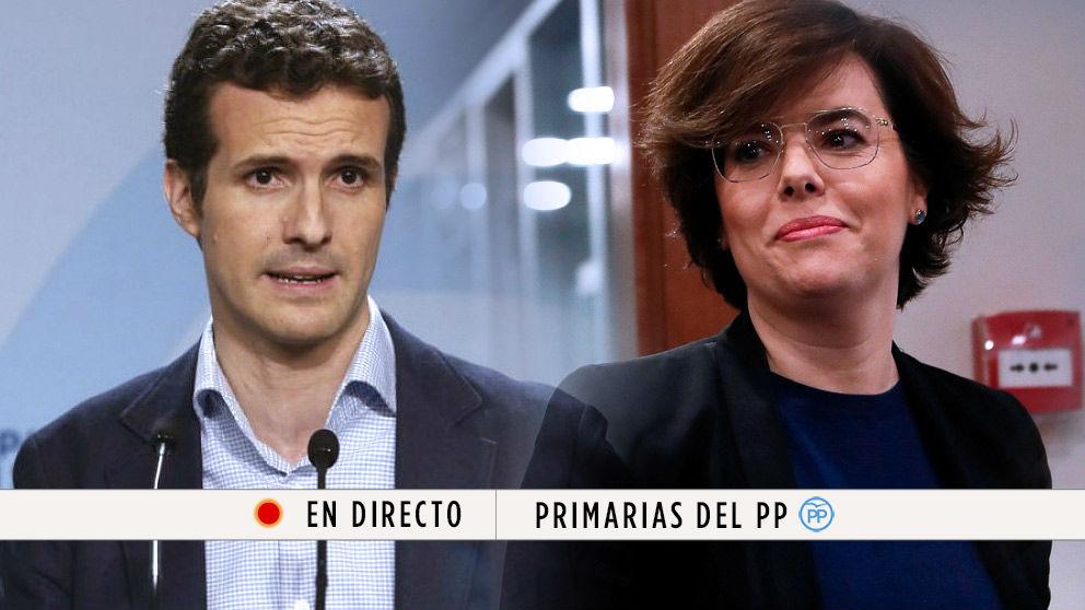 Congreso PP: Pablo Casado y Soraya Sáenz de Santamaría. | Última hora Primarias PP