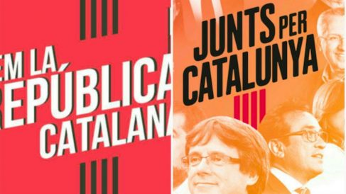 La camiseta de la ANC para la Diada separatista imita la grafía de las siglas de Junts Per Catalunya.