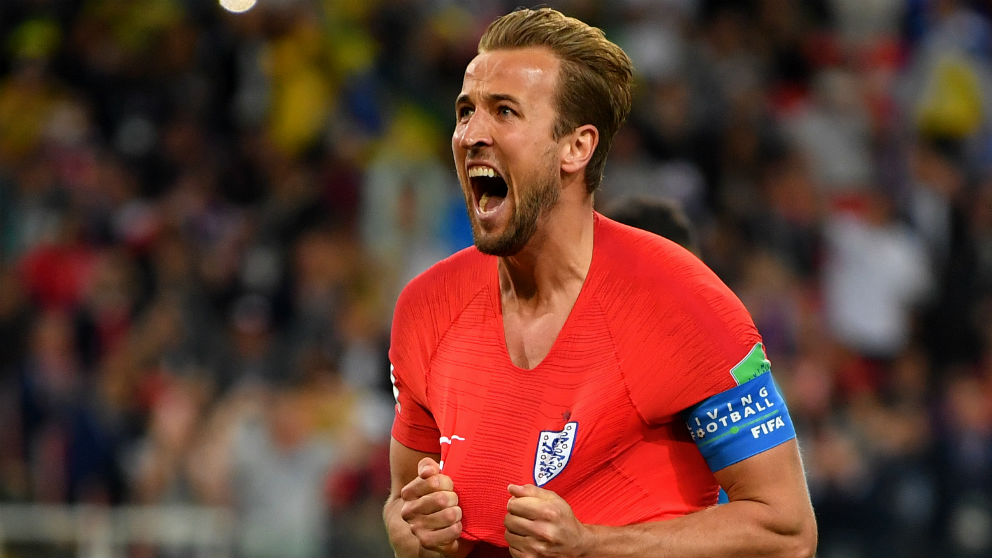 Harry Kane celebra uno de sus goles con Inglaterra. (Getty)