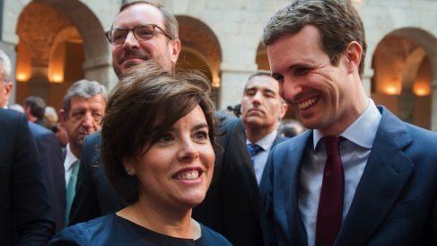 Pablo Casado y Soraya Sáenz de Santamaría el pasado Dos de Mayo. (Foto. PP)