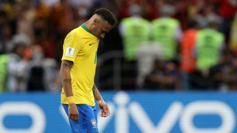 Neymar, cabizbajo tras quedar eliminado del Mundial 2018. (Getty)