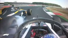 Accidente de Carlos Sainz con Grosjean.