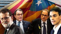 Mariano Rajoy, Artur Mas, Pedro Sánchez y Quim Torra