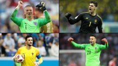 Pickford, Courtois, Lloris y Subasic durante este Mundial 2018 de Rusia. (Getty)